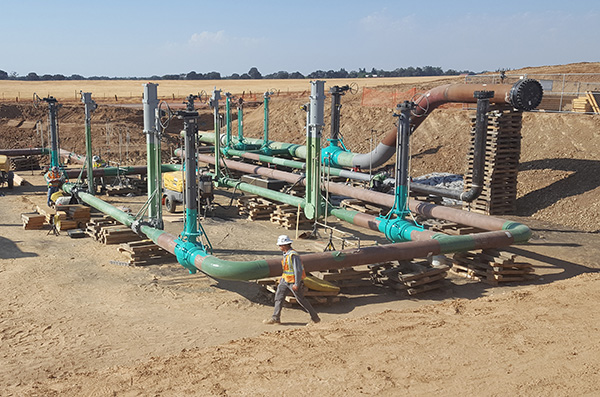 Natural gas pipeline station in construction